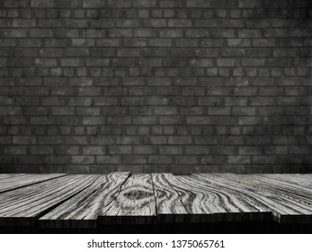 3D render of an old rustic table against a brick wall background