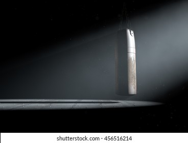 A 3D render of an old worn vintage leather punching bag in a room dark room lit by an ethereal spotlight
