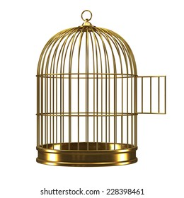 3d render of an open golden birdcage.