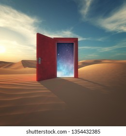 3d render Opened door in the desert to the space.
