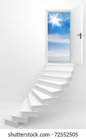 3d render of an opened door to a dream day / Follow your dream