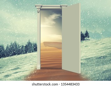 3d render Opened door on a field during winter which leads to a warmer season , to the desert. Changing season through the door concept.