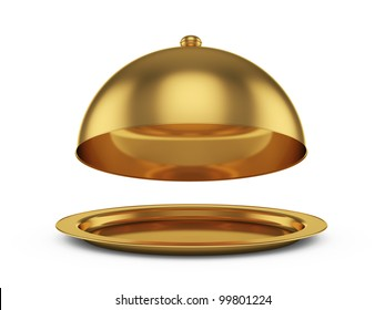 3d render of opened golden cloche, isolated on white background