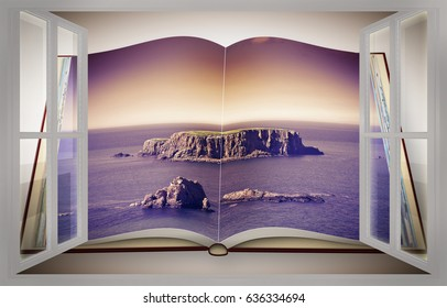 3D render of an opened photo book with a small rocky island in the middle of the northern Ireland sea seen from a window - toned image