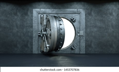 3d render Opening Of The Vault Door In Bank