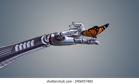 3d render of an orange butterfly sitting on a detailed robotic forefinger. Isolated on color background