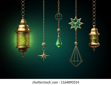 3d render, ornaments hanging on golden chains, glowing light, lantern, tribal festive decoration, ornate crescent, garlands, design elements isolated on emerald green background