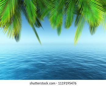 3D render of palm tree leaves over a blue ocean