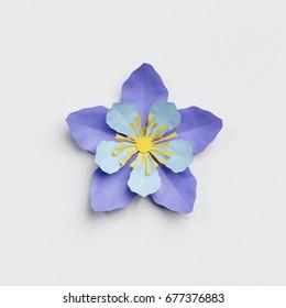 3d render, paper cut decor, blue flower, isolated botanical clip art element