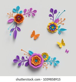 3d render, paper flowers clip art, decorative elements, floral background, botanical pattern, bright candy colors, vibrant palette, isolated on white