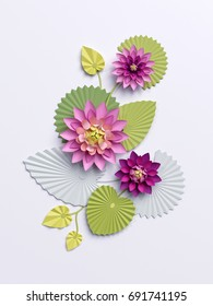 3d render, paper lotus flowers, wall decoration, pink water lily green leaves isolated on white background