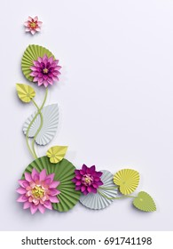 3d render, paper lotus flowers, corner wall decoration, pink water lily green leaves, isolated on white background