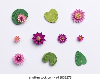 3d render, paper lotus flowers, green leaves, pink water lily, design elements isolated on white background