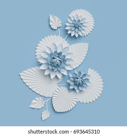 3d render, paper lotus flowers, blue wall decoration, border, white water lily, leaves, design elements, isolated on white background