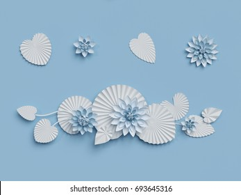 3d render, paper lotus flowers, blue wall decoration, border, white water lily, leaves, design elements isolated on white background