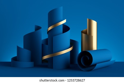 3d render, paper ribbon rolls, abstract shapes, blue fashion background, gold foil, swirl, scroll, curl, spiral, cylinder