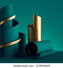 3d render, paper ribbon rolls, abstract shapes, emerald green fashion background, gold foil, swirl, scroll, curl, spiral, cylinder