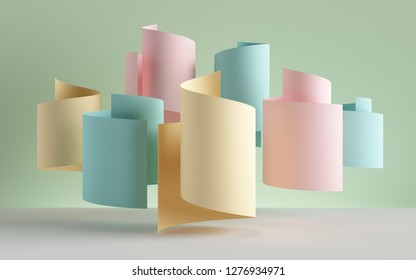 3d render, paper ribbon rolls, abstract shapes, pastel fashion background, swirl, scroll, curl, spiral, cylinder