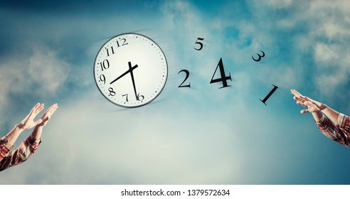 3d render Passing a clock with numbers detached in the air. Lack of time concept . The concept of time passing quickly.