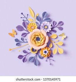 3d render, pastel botanical background, paper flowers, Mother's Day floral bouquet, yellow dahlia, floral arrangement, bright candy colors, decorative embellishment
