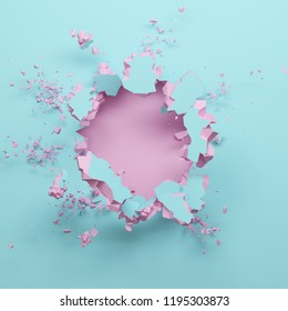 3d render, pastel pink blue broken wall, abstract fashion background, blank space for text, explosion, bullet hole, destruction, digital illustration
