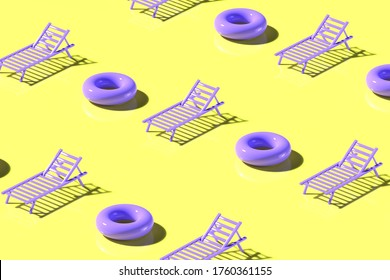 3d render. Pattern of inflatable rubber rings and sunbeds in purple and yellow colors. Minimalistic style, aesthetic and surrealism. Summer vacation vibes