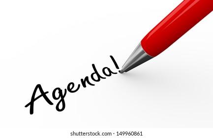 3d render of pen writing agenda on white paper background