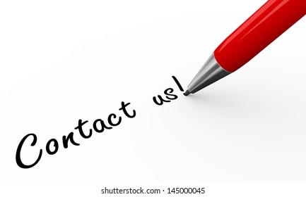 3d render of pen writing contact us on white paper background