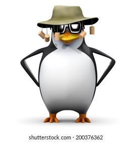 3d render of a penguin wearing an Australian bush hat