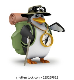 3d render of a penguin wearing a backpack and compass