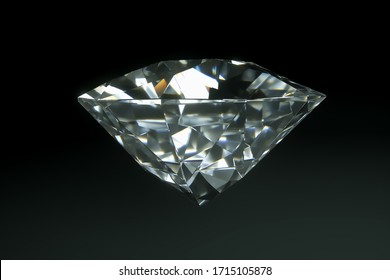 3D render photorealistic diamond isolated on a black background. Luxury concept of taming value Copy space