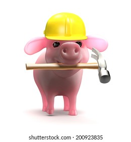 3d render of a piglet wearing a hard hat and holding a hammer in his mouth