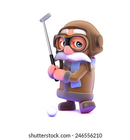 3d render of a pilot character playing golf.