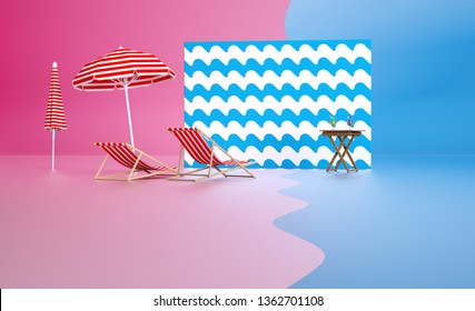 3d render pink and blue image Holidays background Summer beach accessories Travel inspiration illustration Sunbath lounge vacation design composition