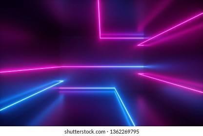 3d render, pink blue neon lines, geometric shapes, virtual space, ultraviolet light, 80's style, retro disco, fashion laser show, abstract background