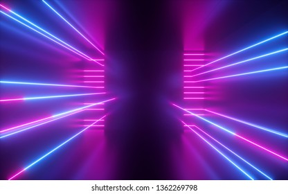 3d render, pink blue neon lines, geometric shapes, virtual space, empty room, ultraviolet light, 80's style, retro disco, fashion laser show, abstract background