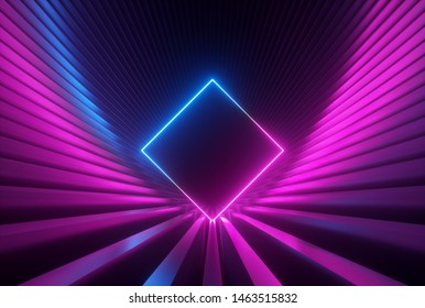 3d render, pink blue neon abstract background with glowing rhombus shape, ultraviolet light, laser show performance stage, wall reflection, rectangular blank frame