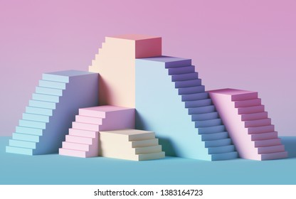3d render, pink blue stairs, steps, abstract background in pastel colors, fashion podium, minimal scene, primitive architectural blocks, design element