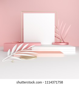 3D render pink and golden platform with tropical leaves in trendy, modern style. Minimal geometric background. Square mock up banner for social media. Geometric shapes in abstract composition.