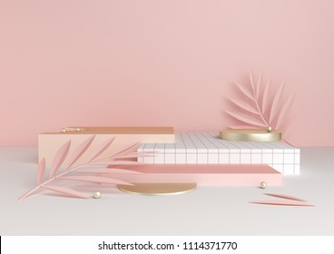 3D render pink and golden platform with tropical leaves in trendy, modern style. Minimal geometric background. Mock up banner for social media. Geometric shapes in abstract composition.