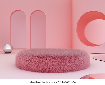 3d render. Pink interior with fur pink podium.  Arch and circle in the background. Fur sofa for cosmetic or fashion product presentation. Shop display. Metallic sphere. Cylinder trendy mirror.