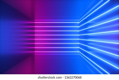 3d render, pink neon lines, corner inside empty room, virtual space, ultraviolet light, 80's style, retro disco club interior, fashion show stage, abstract background