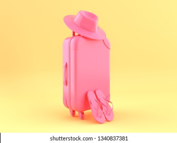 3d render, Pink travel suitcase with hat and slap isolated, minimal fashion on a yellow background, blank space, pastel colors