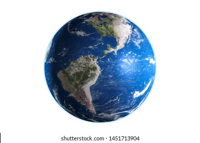 3D render of planet earth isolated on white background.