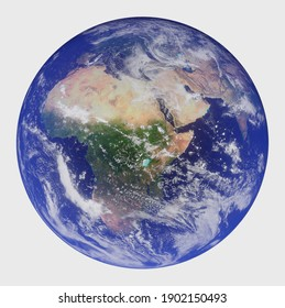3d render of planet Earth on white background