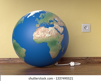 3D render of planet Earth resting on room wooden floor with electrical wire unplugged from wall socket - Earth Hour concept - some elements of this image furnished by NASA
