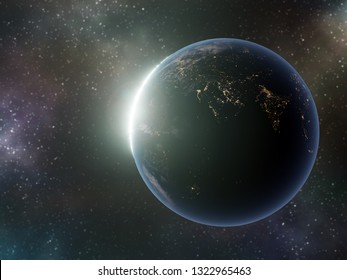3D render of Planet Earth with Sun rising from behind against colorful galactic sky- some elements of this image furnished by NASA