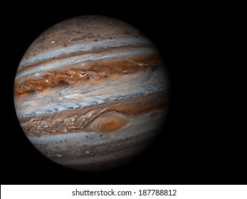 3D render the planet Jupiter on a black background, high resolution Elements of this image furnished by NASA