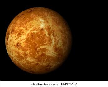 3D render the planet Venus on a black background, high resolution