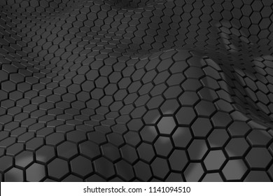 3d render plastic background with reflections. Displacement surface. Random patterns extruded from the wavy shape.